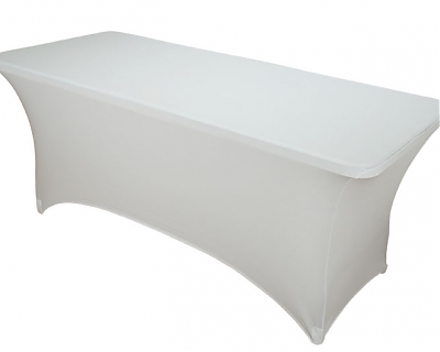 White lycra 6ft x 2.5ft Trestle Table Cover
